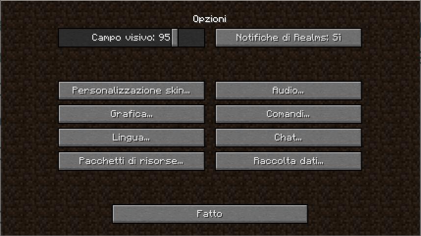 Menù per accedere al passaggio finale di Installare Texture Pack In Minecraft