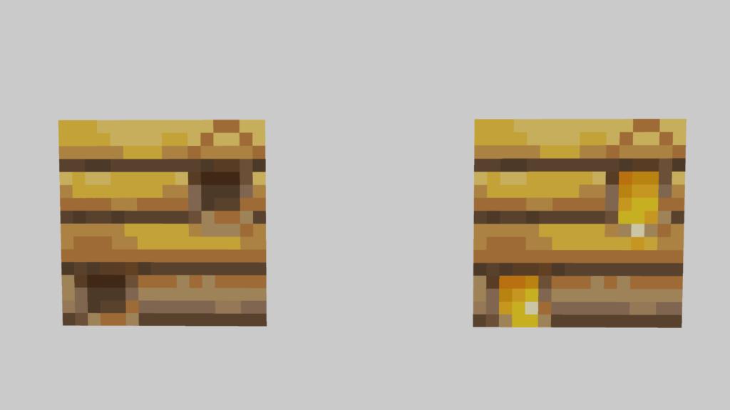 A sinistra un Bee Nest di Minecraft vuoto, che non darà miele. A destra invece un Bee Nest pieno, che ci permetterà di prendere il miele su Minecraft.