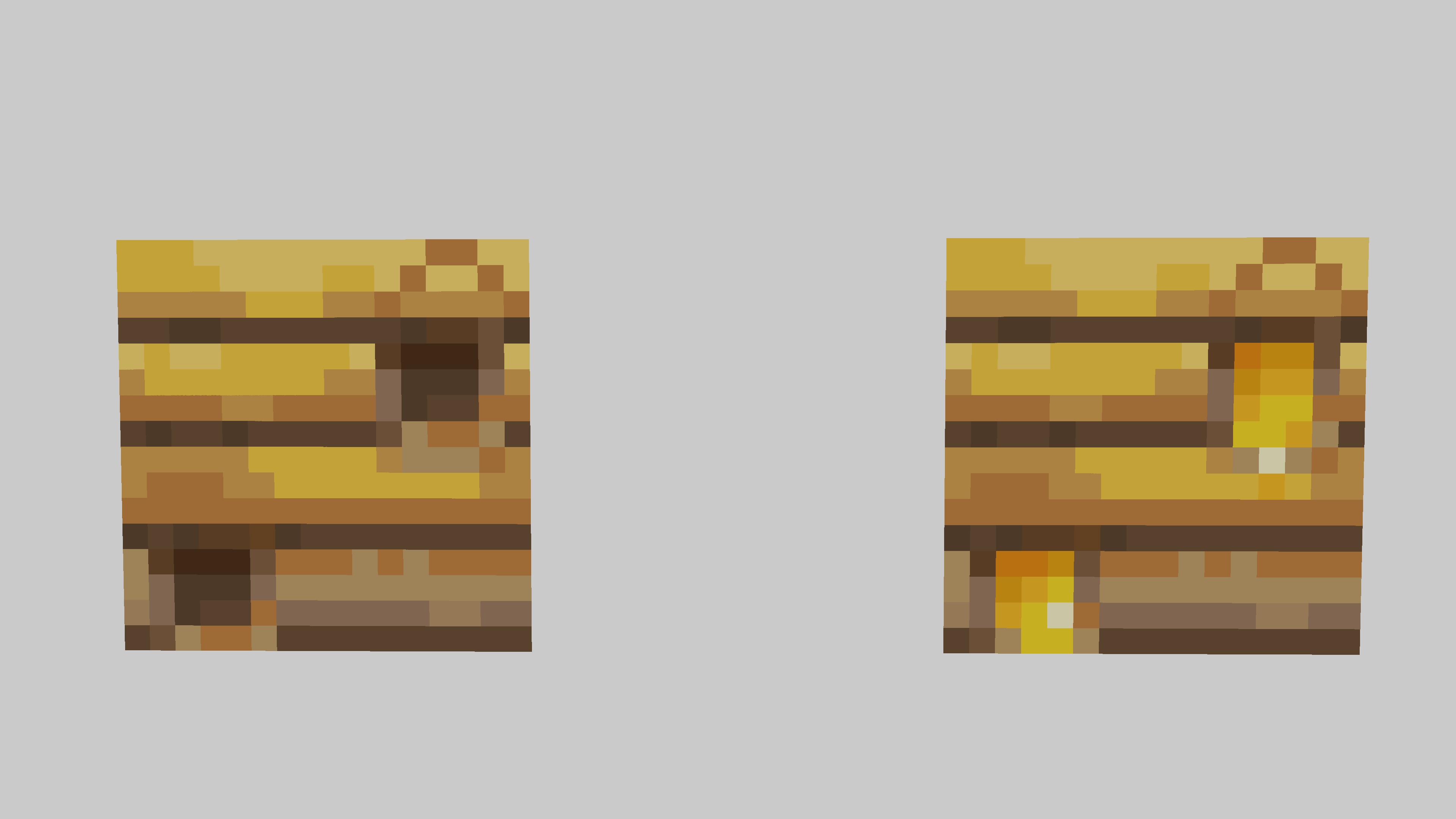 Ecco un Bee Nest vuoto (a sinistra) e uno pieno (a destra). Da quello di sinistra con le cesoie non ricavate 0 Favo, mentre cesoiando quello di destra col Click Destro ve lo darà.