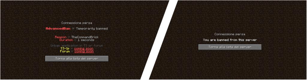 """AdvancedBan, un Plugin considerato da molti ordinato e semplice, infatti è nella Nostra Lista de """"I Migliori plugin Per Minecraft"""". In questo Screenshot potete vedere la differenza tra un Ban con AdvancedBan (a sinistra) e una schermata di Ban classica (a destra)."""