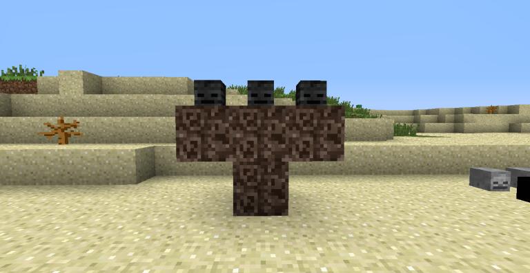 Come Evocare Un Wither In Minecraft mediante l'utilizzo di soul sand e teste di wither skeleton.