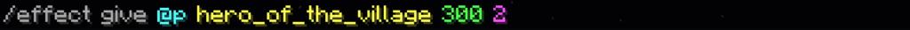 Questo è lo screenshot col comando per ottenere l'effetto Eroe del Villaggio in Minecraft 1.14 e successive.