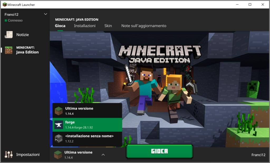 Il Launcher di Minecraft; ora selezioniamo lo User di nome Forge e clicchiamo gioca per avere i Lucky Block su Minecraft.