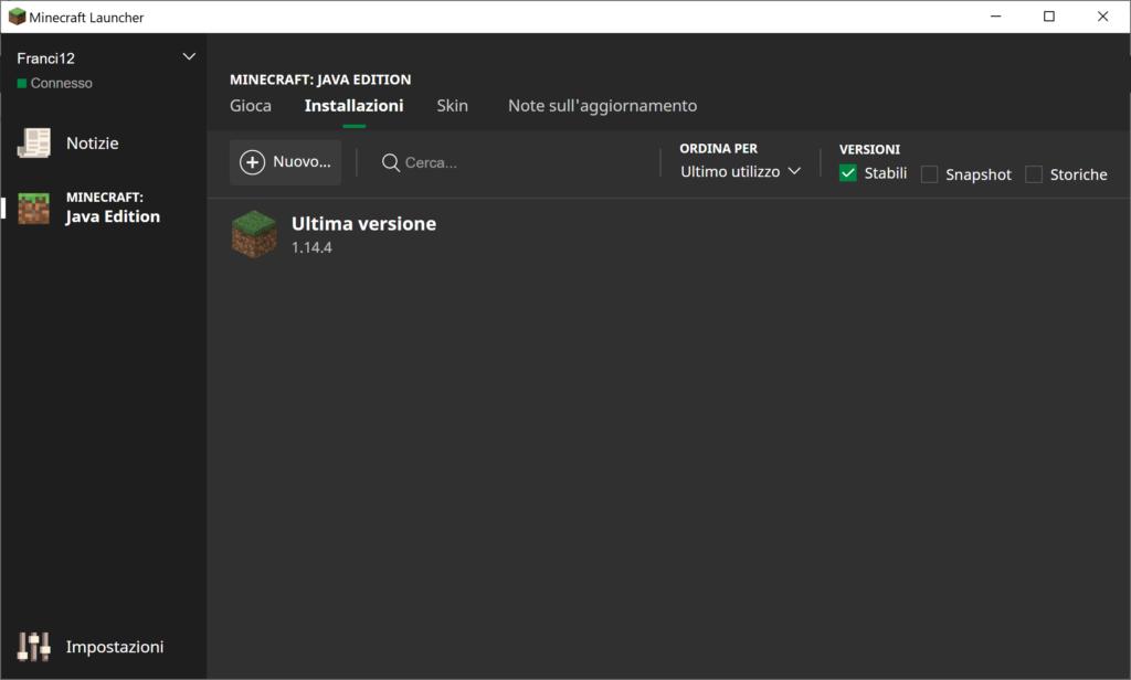 Questa è la schermata Installazioni del Launcher di Minecraft. Andremo a selezionare a Versione di Forge e la faremo partire, ora.