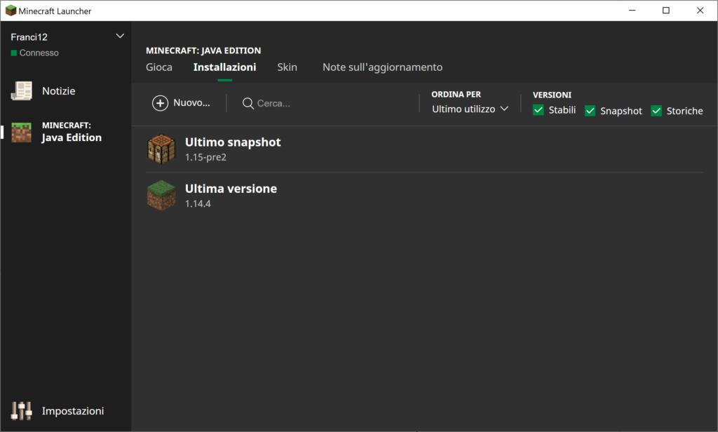 Ora facciamo partire il Launcher con Forge 1.12.2, il che significa che faremo partire Minecraft Con Le Api.