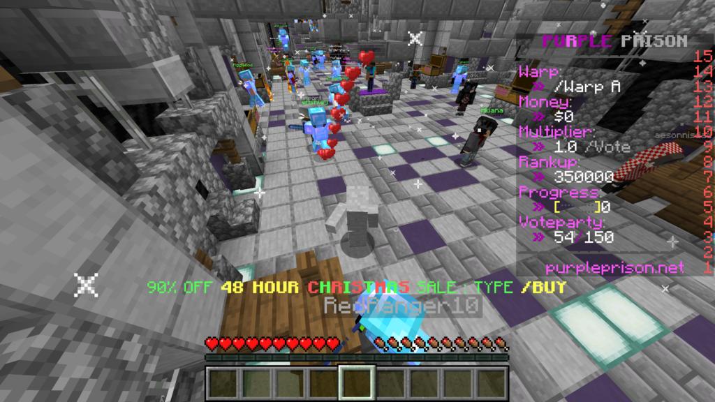 PurplePrison è un server che procura un'esperienza di PvP incredibile, piena di giocatori che non annoiano, bravi in campo. Decisamente da includere nella classifica dei migliori Server PvP di Minecraft.