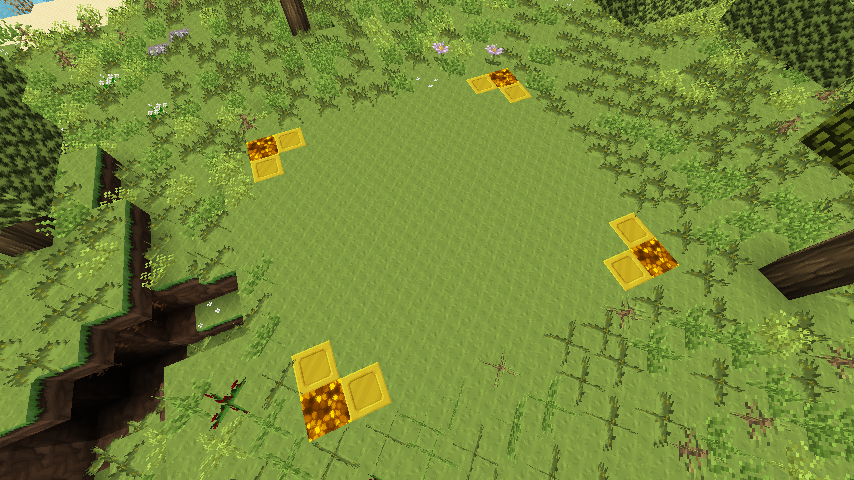 Questo è lo screenshot di un'area selezionata con la pala da claimare in minecraft.