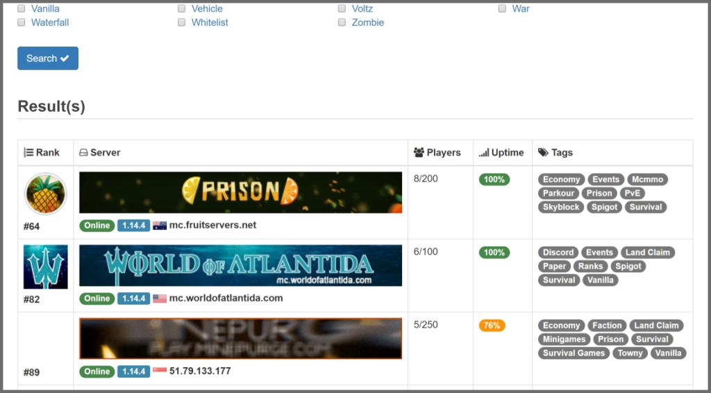 Questa è la Lista dei Server Privati trovati da Server Finder, che ci aiuta a trovare server pubblici e privati.