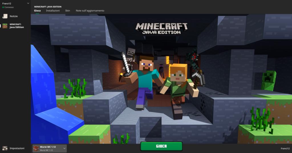 Questo è il Launcher di Minecraft, nel quale si installerà un profilo di nome Wurst MC. Se clicchiamo il Tasto GIOCA, potremo far partire Minecraft Wurst e Hackerare i Servers che vogliamo di Minecraft. Tuttavia non è sempre possibile ciò dato che in alcuni servers ci sono dei sistemi Anti-Hacking potentissimi.
