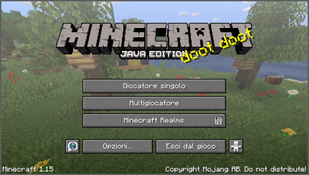 Questa è la leggendaria schermata principale di Minecraft, per di più la tanto attesa 1.15, che è appena uscita!