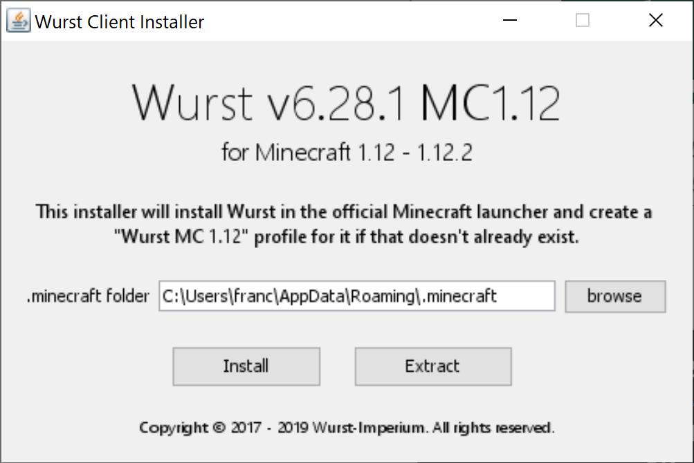 Questo è l'Installer della Wurst, che ci permetterà di Hackerare i Server di Minecraft e diventare (più o meno) invincibili!