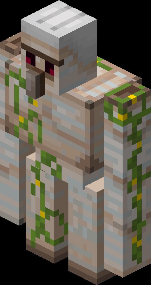 Questo è un Iron Golem, con muschio verde addosso. Oggi impareremo come givvarsi un uovo di iron golem su Minecraft.