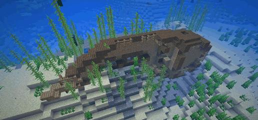 La Shipwreck, una nave naufragata in Minecraft che contiene il baule con la mappa del tesoro.