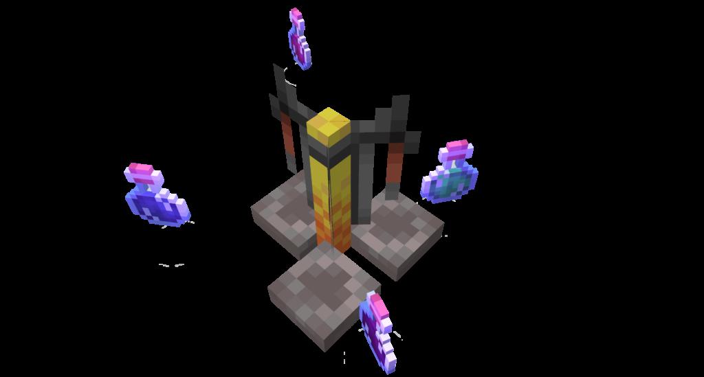 Alambicco visto dall'alto, è il marchingegno di Minecraft che ci permette di fare le pozioni nel gioco.