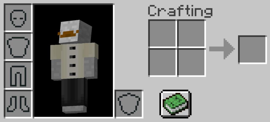 A destra, la griglia di Crafting incorporata nell'Inventario Survival che ci farà costruire il Banco da Lavoro di Minecraft