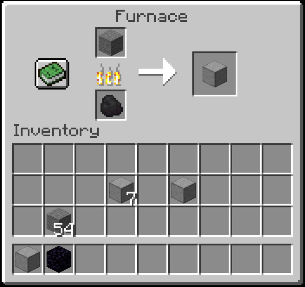Ecco il passaggio finale che spiega come fare la pietra levigata con la fornace su Minecraft.