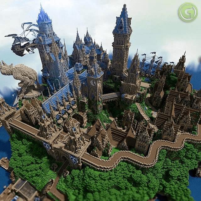 Un castello così è proprio bello: enorme, ornabile a piacimento... costruzione da costruire in Minecraft.