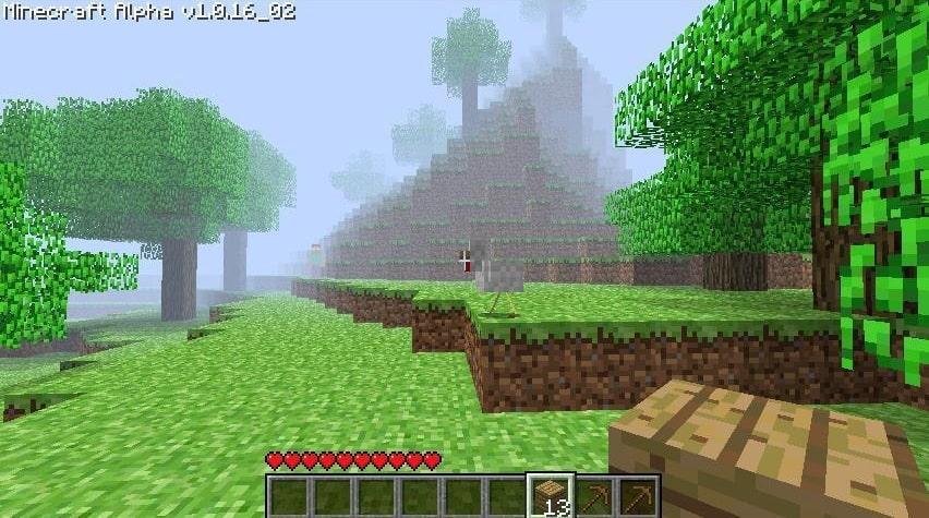 Avvistamento leggermente a sinistra dal centro di Herobrine in Minecraft old_alpha_1.0.16_02