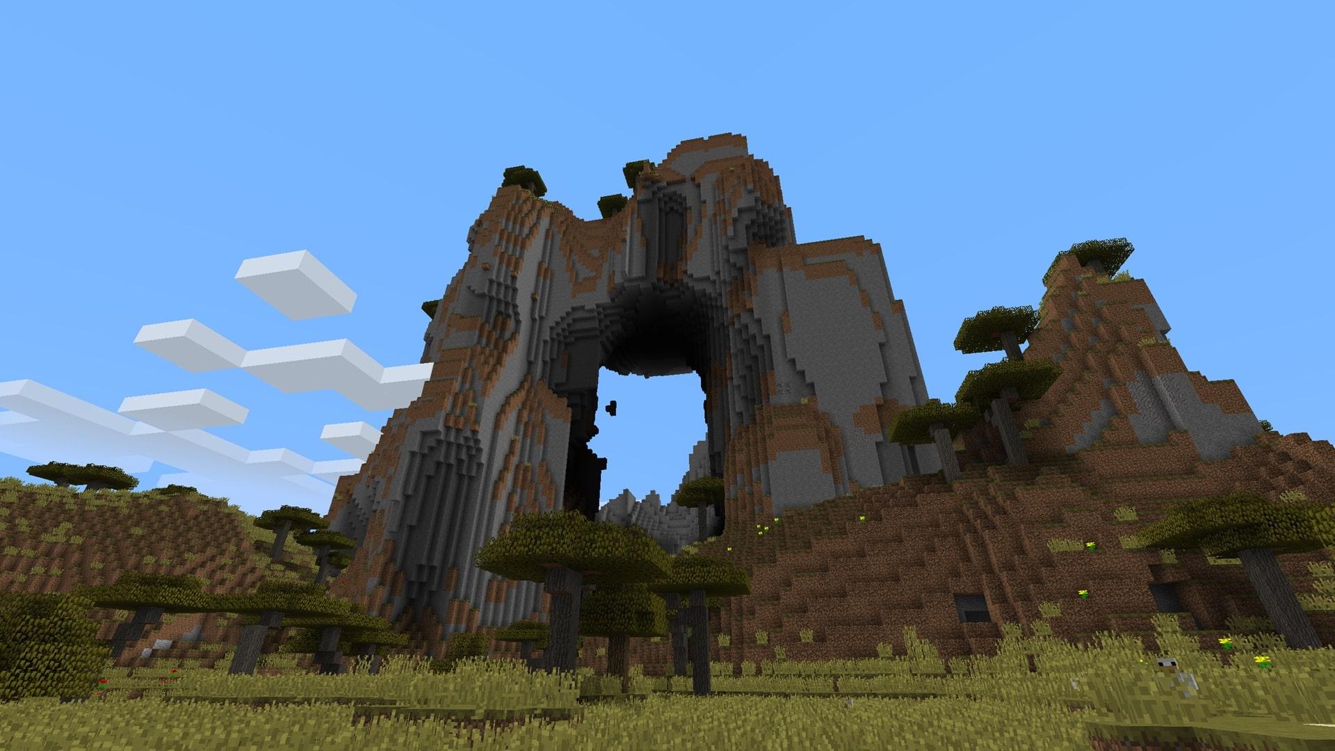 Secondo tra i semi (o seed, è uguale) migliori di Minecraft - arco montagna.