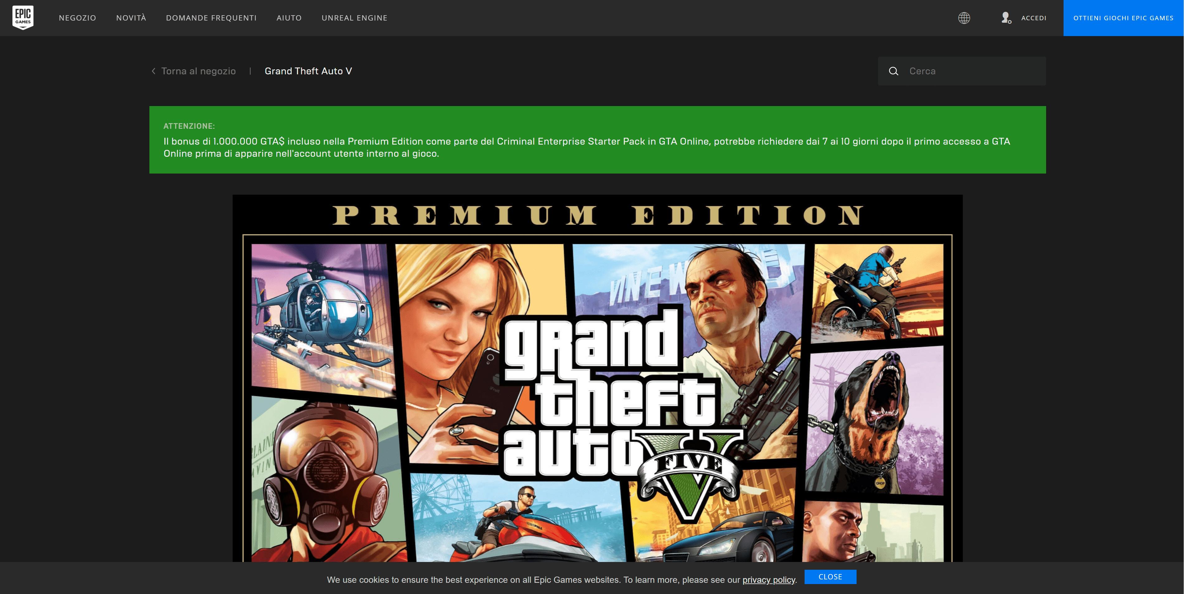 Prima cosa: andare sulla pagina di GTA 5 della Epic Games.