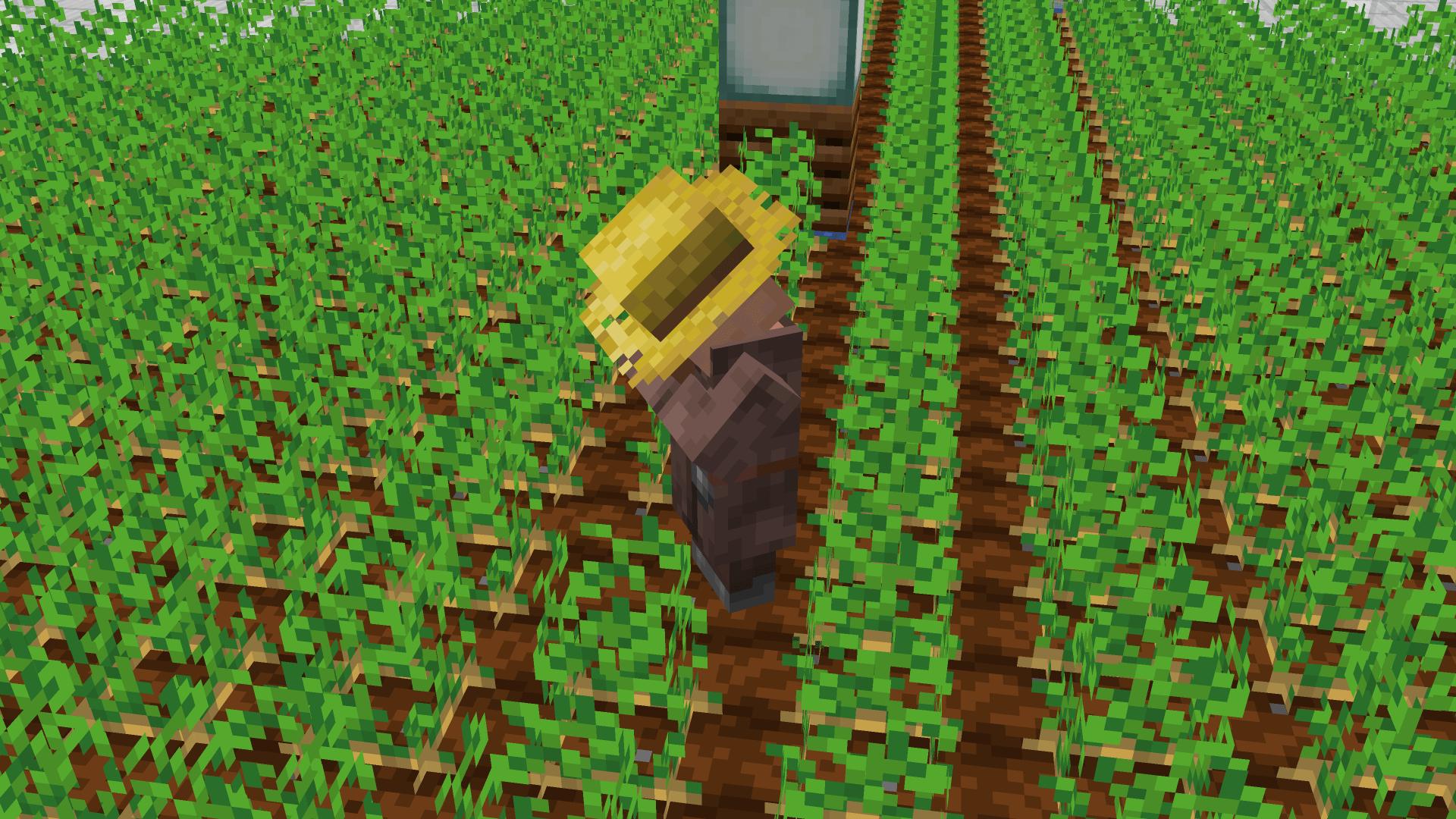 Villager impegnato a coltivare - ci servirà per far accoppiare gli (altri due) villagers di Minecraft.