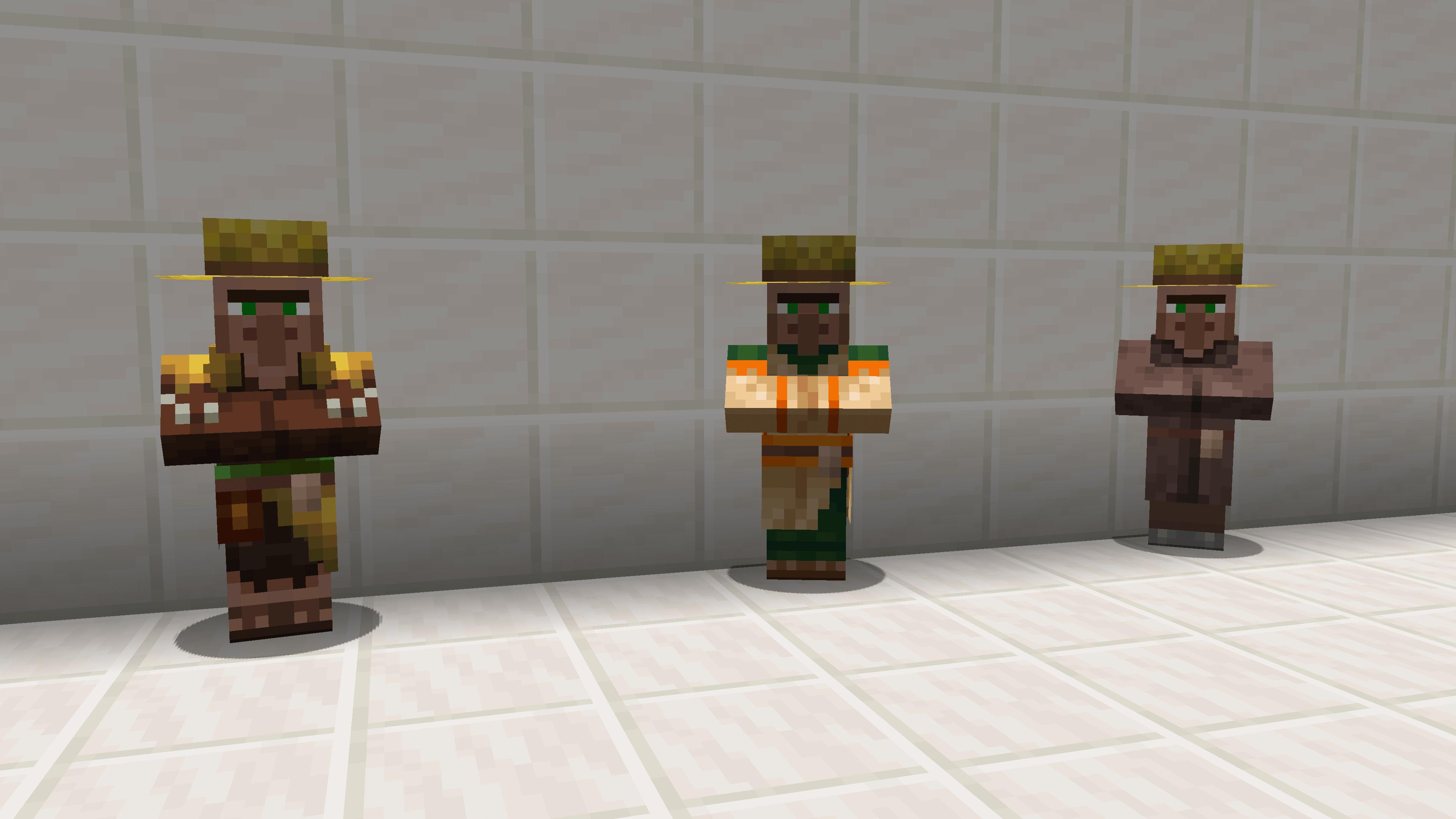 3 tipi di villager, impostabili con VillagerData. Uno della giungla, uno classico e uno del deserto di Minecraft.