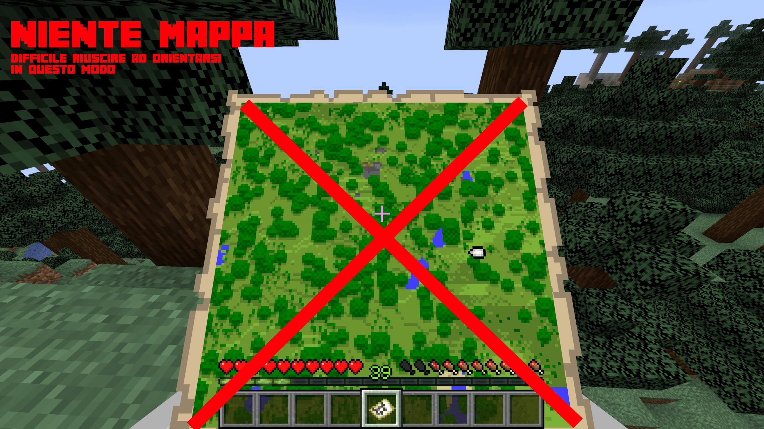 Primo metodo per orientarsi in Minecraft - senza mappa. È più difficile perché devi ricordare come è fatto il territorio che ti circonda, per poi orientarti. Spesso non si sa come è fatto un territorio sconosciuto, e infatti c'è il Metodo 2.