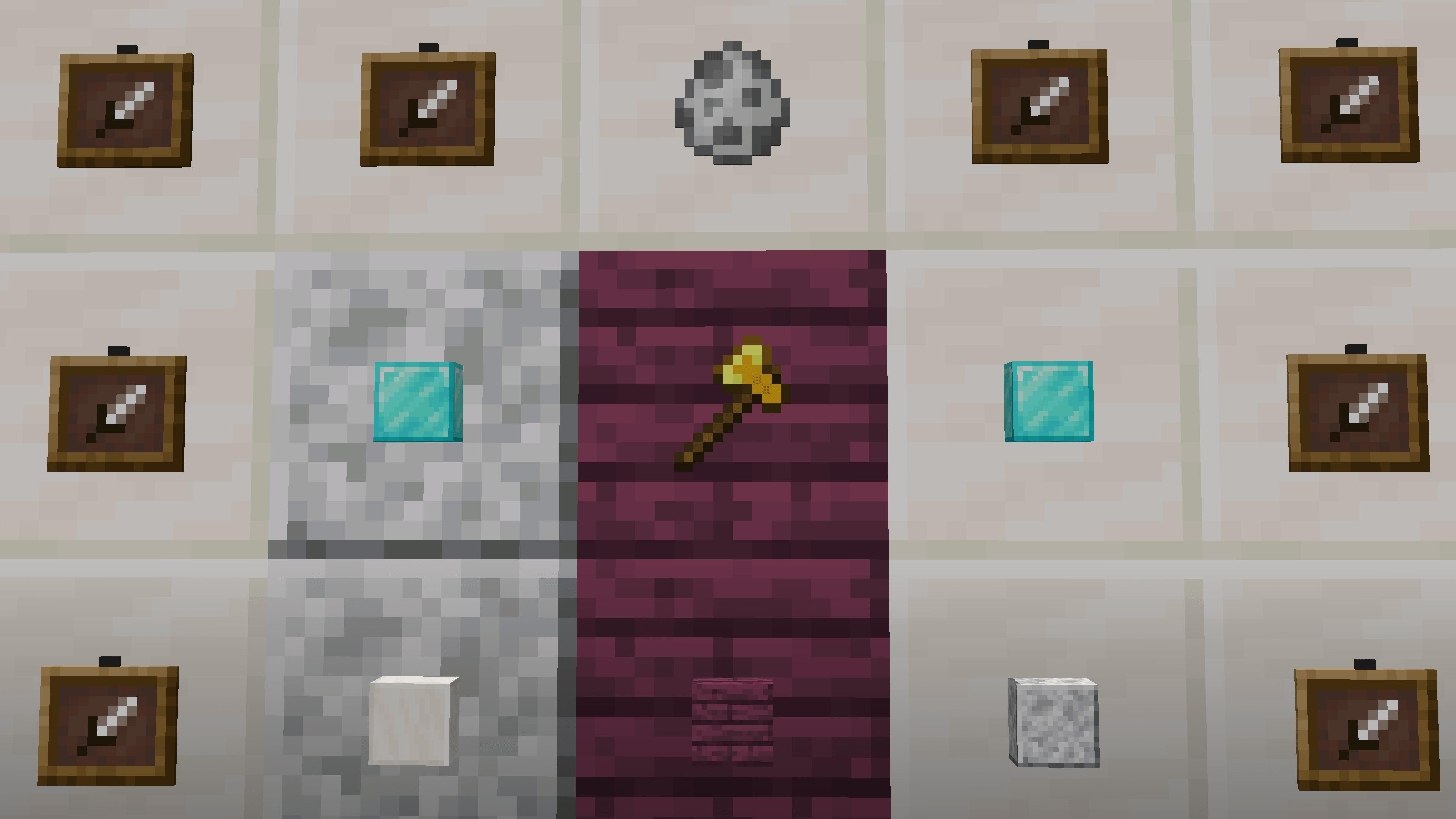 Schermata di esempio - ottenere un item frame invisibile permette di fare mura di oggetti appesi apparentemente in niente.