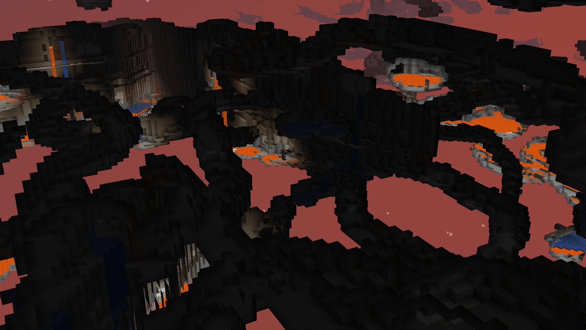 Questo è come si vede quando si guarda attraverso i blocchi in Minecraft. Si vedono solo le parti cave del mondo, come caverne e miniere.
