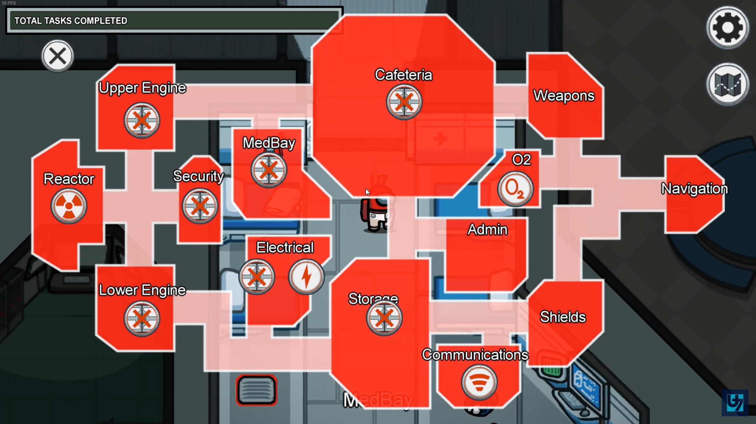 Dal menù di sabotaggio scegli le porte da sabotare per serrare le stanze nella partita di Among Us.
