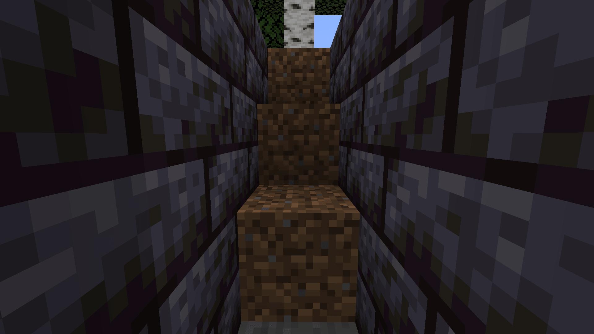 Metodo 2 per uscire dalla buca di Minecraft: fare una scala (se non si hanno blocchi e la buca non è profonda).